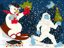 Christmas rush. A snowman, a penguin, a small bird and a yeti running to the Christmas eve stock illustration
