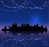 St. Petersburg vector silhouete and Chritsmas colored lights royalty free stock images