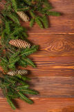 Christmas rustic background - vintage planked wood with lights and free text space Stock Photo