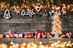 Christmas rustic background with wooden decoration royalty free stock photo
