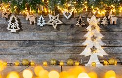 Christmas rustic background with wooden decoration stock image