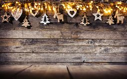 Christmas rustic background with wooden decoration stock photos