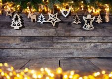 Christmas rustic background with wooden decoration stock photography
