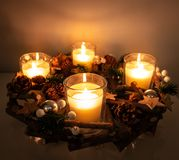 Christmas rustic centerpiece royalty free stock images