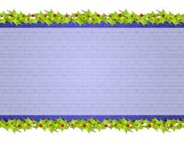 Christmas Rustic Holly Leaf Background. A background illustration featuring a top and bottom border decorated with holly leaves with central  blue colors Stock Images