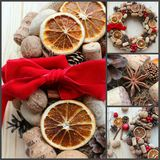 Christmas in a rustic style. Handmade decor. Christmas wreath on the background of old boards. Festive mood. Christmas card. Background Christmas and new year stock image