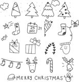 Christmas s by hand drawing with black and white color. royalty free illustration