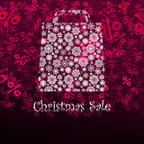 Christmas sa;e card with shopping bag. EPS 8 Stock Image