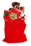Christmas sack full of gifts Royalty Free Stock Photos