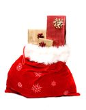 Christmas sack full of presents Royalty Free Stock Photos