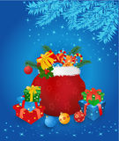 Christmas sack with gifts. Magic christmas sack with gifts on blue Vector illustration Stock Images
