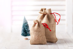 Christmas sack with presents, closeup Royalty Free Stock Photo