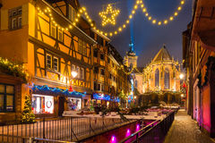 Christmas Saint Martin Church in Colmar, Alsace, France. Saint Martin Church in old town of Colmar, decorated and illuminated at christmas time, Alsace, France Stock Images