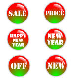 Christmas sale. Great sale and happy new year icons Royalty Free Stock Image