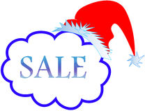 Christmas sale. Christmas holiday sale with santa hat Stock Photo