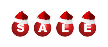 Christmas Sale. Christmas balls with sign sale and Santa's hat, illustration stock illustration