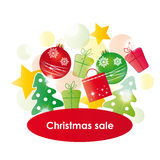 Christmas sale. Red - green - yellow background on christmas sale Royalty Free Stock Photo