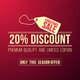 Christmas sale ad designed in a modern flat style. On a red background Stock Images