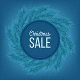 Christmas sale advertising banner decorated with fir branches on blue background, winter sale, Christmas, New Year design,. Illustration Royalty Free Stock Image