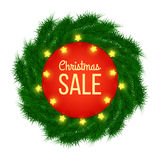 Christmas sale advertising banner decorated with fir branches and light garlands on white background, winter sale, Christmas, New. Year design,  illustration Royalty Free Stock Photos