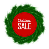 Christmas sale advertising banner decorated with fir branches on white background, winter sale, Christmas, New Year design,. Illustration Stock Photo