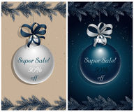 Christmas sale. Advertising banner. Snow-covered pine, spruce twigs and christmas ball. Vector, EPS 10 Royalty Free Stock Image