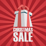 Christmas sale advertising poster. Xmas present Stock Photo