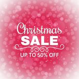 Christmas sale background. Advertising poster for the store. Discounts up to 50 percent. Winter sale banner. Vector. Illustration Stock Illustration