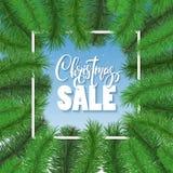 Christmas sale background, banner. XMAS tree frame, border. Stock Photos