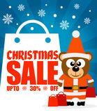 Christmas sale background with bear vector Royalty Free Stock Photo