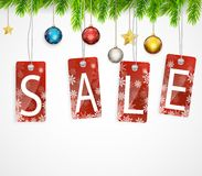 Christmas sale background with Christmas decoration Stock Photo
