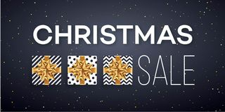 Christmas sale background with gifts boxes with gold bow. Template   Royalty Free Stock Images