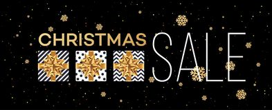 Christmas sale background with gifts boxes with gold bow. Template  Royalty Free Stock Photography