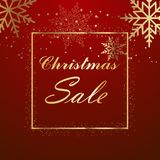 Christmas sale background with gold frame and snowflakes. Vector.  Royalty Free Stock Photos