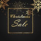 Christmas sale background with gold frame and snowflakes. Vector.  Stock Photography