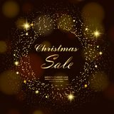Christmas sale background with gold stars and sparkles on black. Vector.  Royalty Free Stock Photography