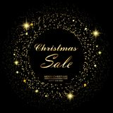 Christmas sale background with gold stars and sparkles on black. Vector.  Stock Images