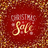 Christmas sale background with golden frame. Christmas sale background with golden starry frame royalty free illustration