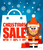 Christmas sale background with lion vector Stock Photos