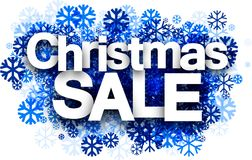Christmas sale background with snowflakes. Stock Photo