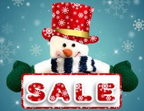 Christmas sale background with snowman. Stock Images