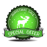 Christmas sale badge. Green Christmas sale badge with moose silhouette and the text special offer written with white letters stock illustration