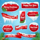 Christmas Sale Badges. Christmas sale realistic badges with snow piles vector illustration stock illustration