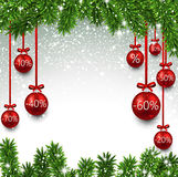 Christmas sale balls with fir branches. Stock Images