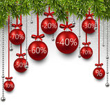 Christmas sale balls with fir branches Royalty Free Stock Photography