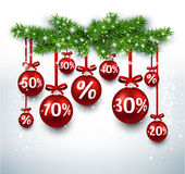 Christmas sale balls with fir branches. Stock Image