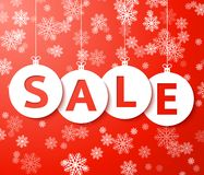 Christmas sale balls with snowflake Vector. Christmas sale balls with snowflake (cut the paper stock illustration