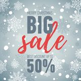 Christmas sale banner.Big sale 50.Holiday discount. Christmas sale banner. Illustration with Santa girl character. Winter seasonal banner. Big sale 50. Holiday Stock Image