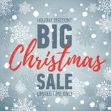 Christmas sale banner. Big sale 50. Holiday discount.. Winter seasonal banner with winter background. Holiday poster. Flat style. Vector banner Royalty Free Stock Photography