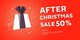 After Christmas sale banner. Big winter sale offer. Shop market poster design. Vector illustration EPS 10 Royalty Free Stock Images